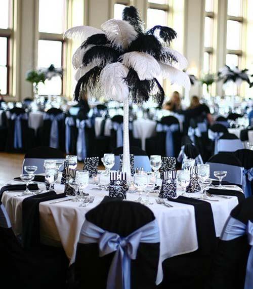 Arranjos de mesa preto e branco