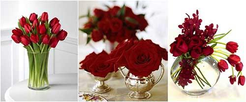 Arranjos de mesa vermelho e branco