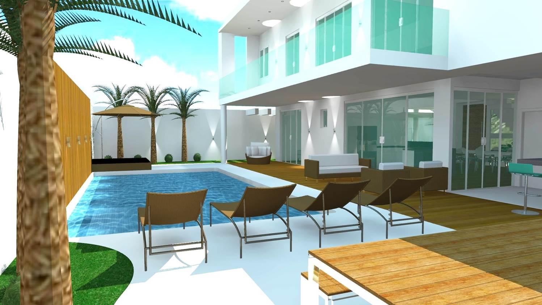 Plantas de casas área externa em 3d