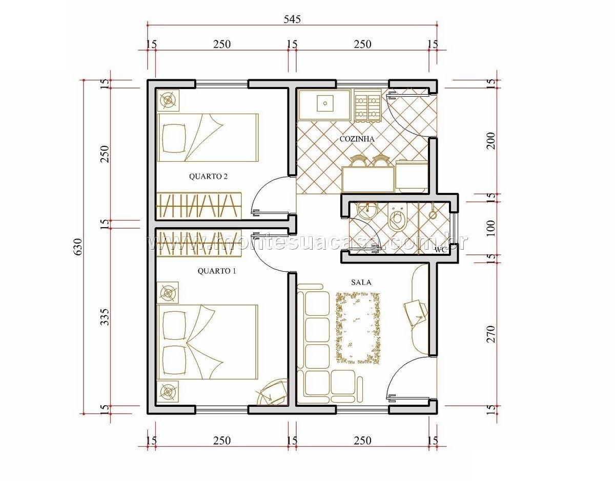 Plantas de casas 6x8 quatro quartos