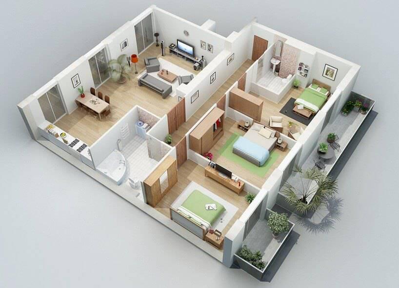 Plantas de casas com 3 quartos e cozinha americana 3d