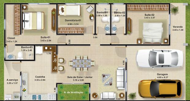 Plantas de casas com 3 quartos e cozinha americana