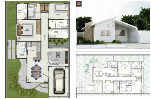 Plantas de casas modernas branca