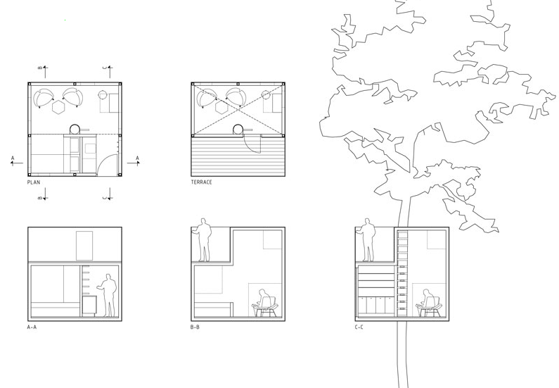 Plantas de casas na árvoree