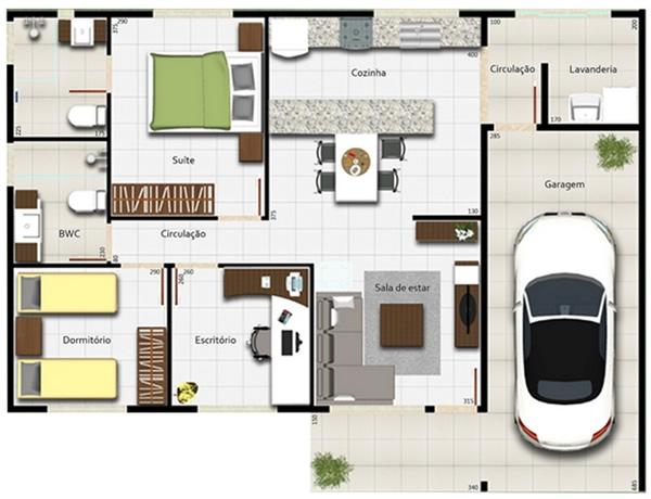 plantas de casas com garagem