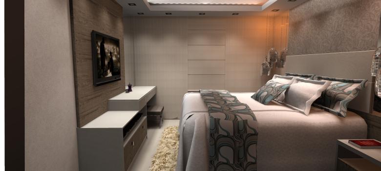 Cinza na decoração moderna do quarto de casal