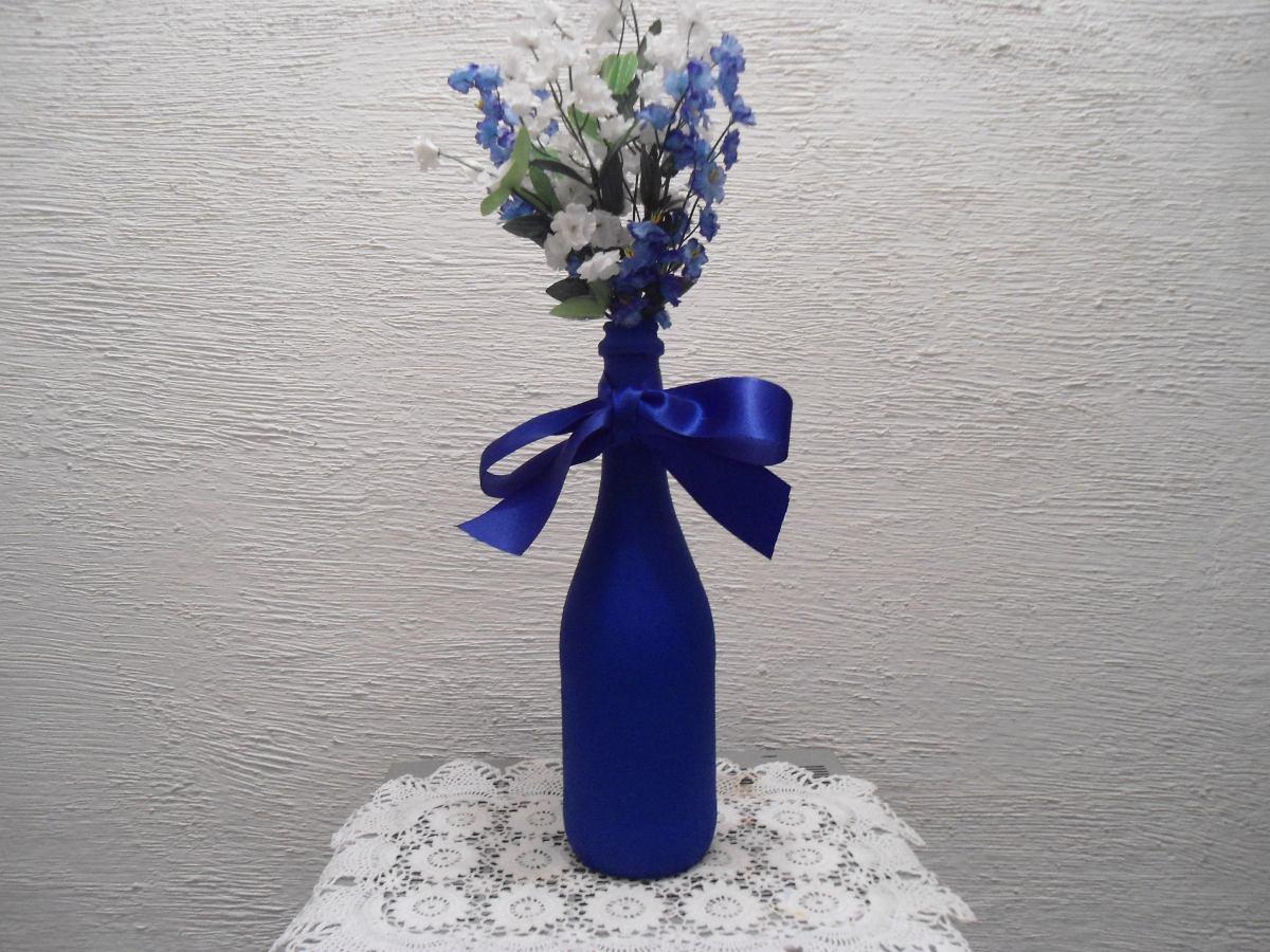 Garrafas decoradas azul turquesa