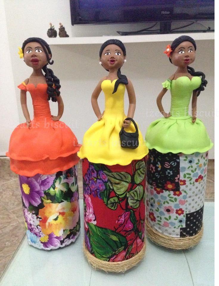 Garrafas decoradas bonecass