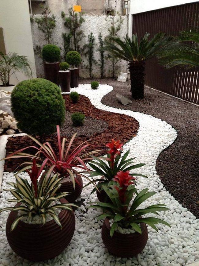 Jardim de inverno com pedras