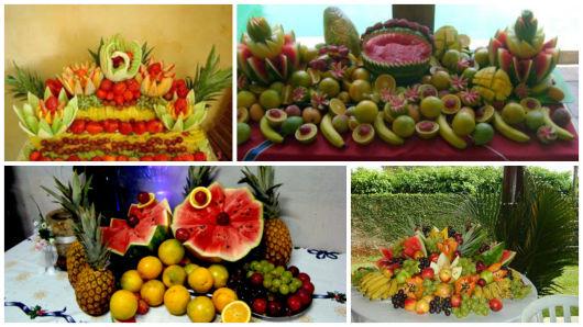 Mesa de frutas ano novo