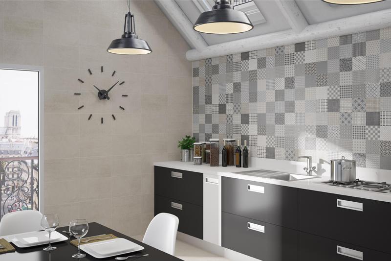 Pastilhas grandes em cozinha moderna em diversos tons de cinza