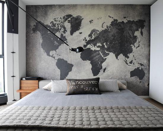 Quarto de casal com mapa mundi na parede  Dcore voc