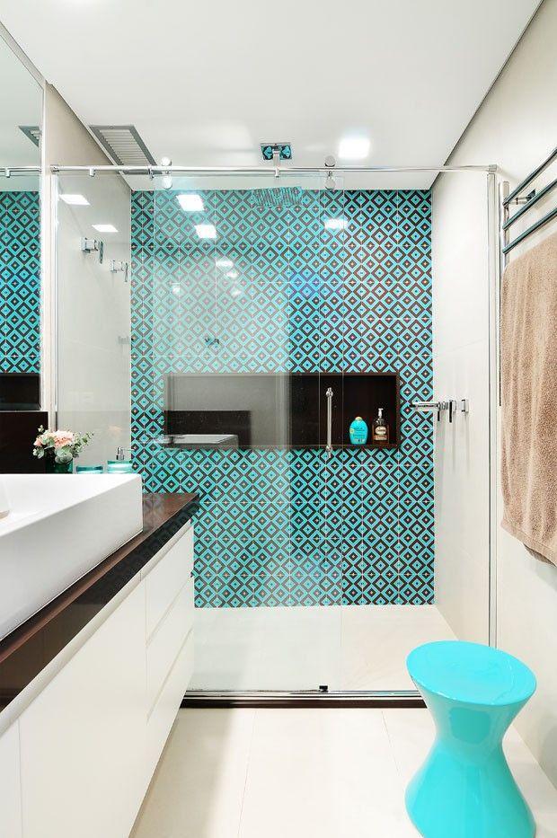 Revestimento para banheiro azul turquesa