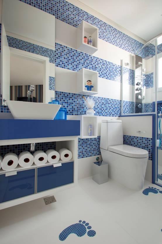 Revestimento para banheiro azul