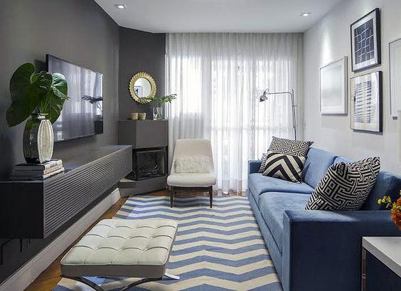 Decora o de sala pequena 85 modelos lindos para voc se for Pintura para apartamentos modernos