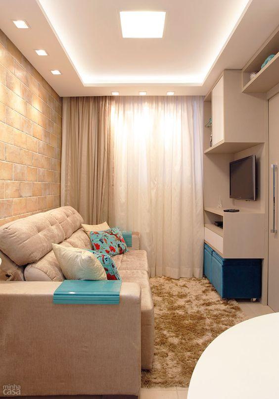 Decora o de sala pequena 85 modelos lindos para voc se for Salas de casas pequenas