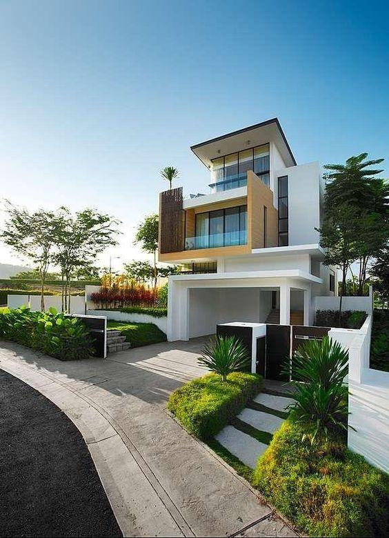 Casa moderna e luxuosa na fachada dcore voc for Casa moderna 2017