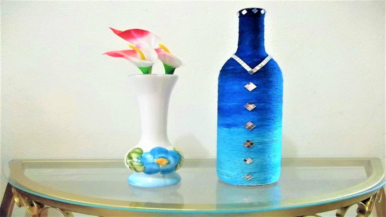 garrafas decoradas azull