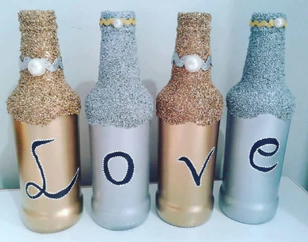 garrafas decoradas com glitter