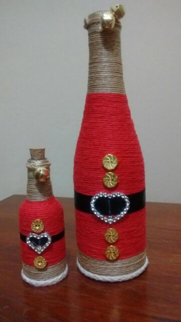 garrafas decoradas de papai noel