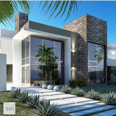 Fachadas de sobrados veja 110 modelos modernos e lindos for Casa villa decoracion exterior fachada