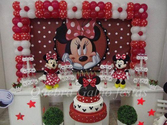 85 Modelos de Decoraç u00e3o da Festa da Minnie Para se Inspirar # Decoraçao De Festa Da Minnie Vermelha Simples