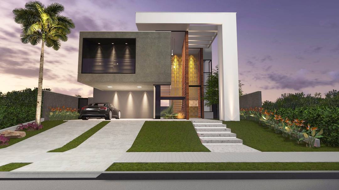 Fachadas de sobrados veja 110 modelos modernos e lindos for Fachadas de casas super modernas