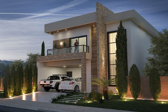 Fachadas de sobrados veja 110 modelos modernos e lindos for Plano de casa quinta moderna