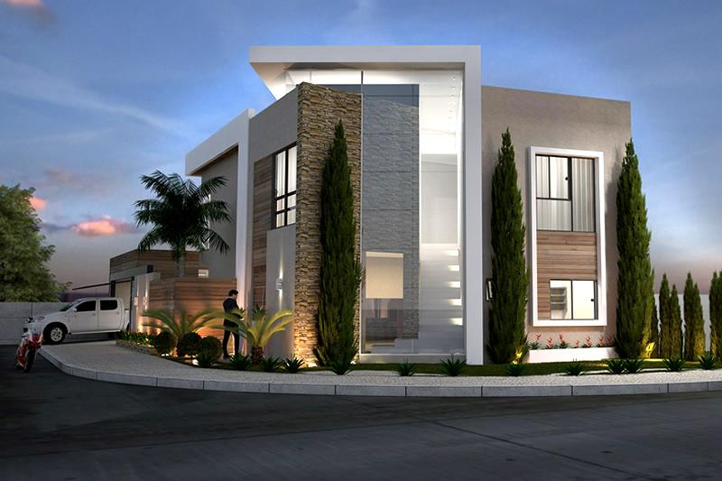 Fachadas de sobrados veja 110 modelos modernos e lindos for Casa moderna esquina