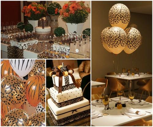 decoração com balões dourado com listras pretas