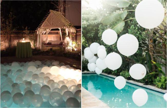 decoração com balões em piscina