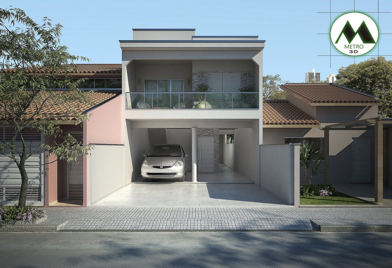 Fachadas de sobrados veja 110 modelos modernos e lindos for Casas minimalistas 180m2