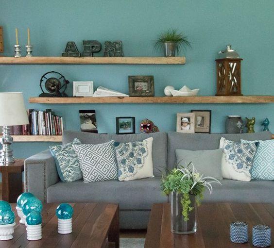 Quarto azul turquesa e tiffany 70 modelos para voc for Pintura interior turquesa