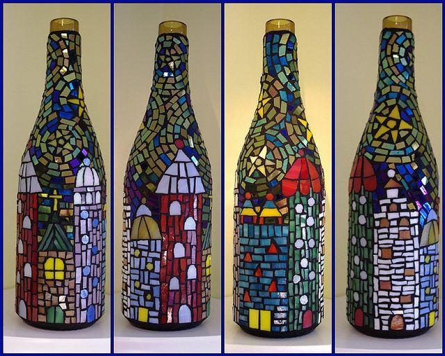 garrafa pequena com ladrilhos para artesanato