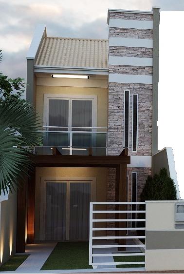 Fachadas de sobrados veja 110 modelos modernos e lindos for Fachadas para apartamentos pequenos