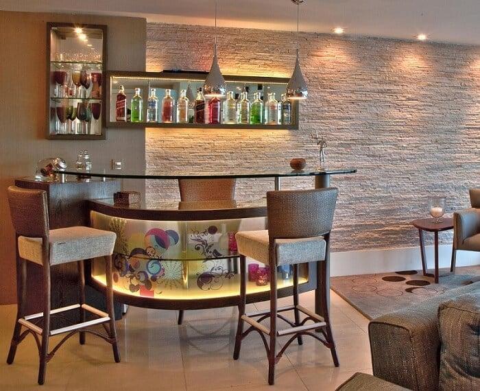 #474385 Bar de Parede Veja Mais de 60 Modelos Para Você Fazer 700x570 píxeis em Bar Pequeno Para Sala De Estar Moderno
