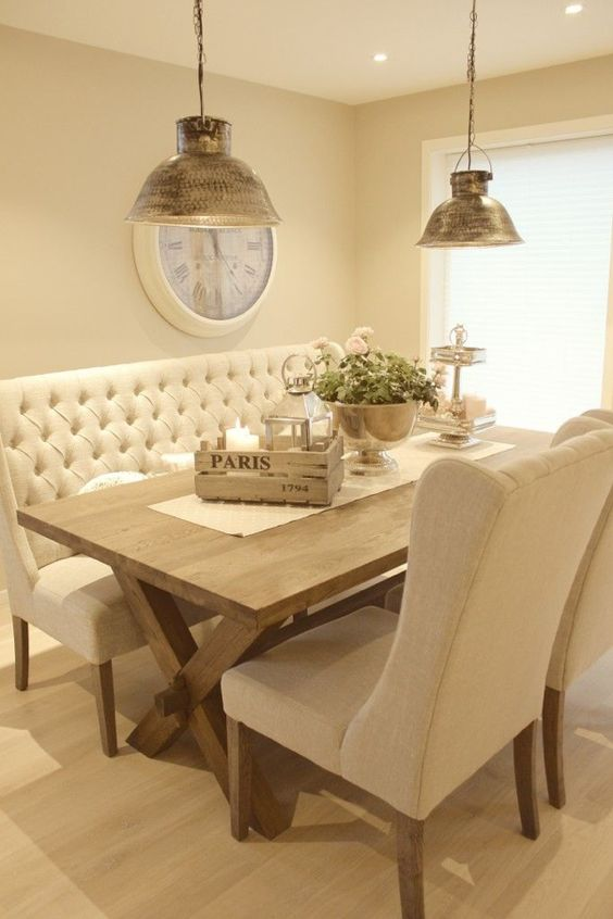 Grey Fabric Dining Table Set