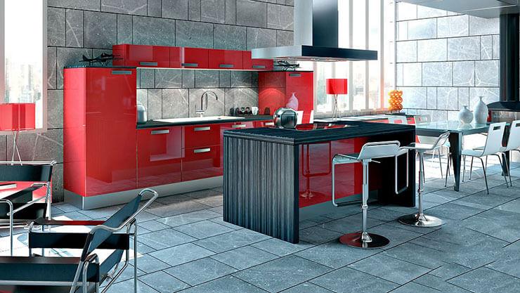 Piso ara cozinha em sala com móveis vermelhos