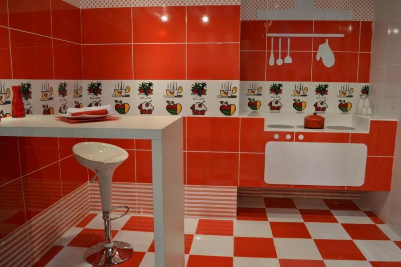 Piso em vermelho e branco na sua própria cozinha