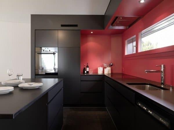 Piso na cozinha na cor marrom