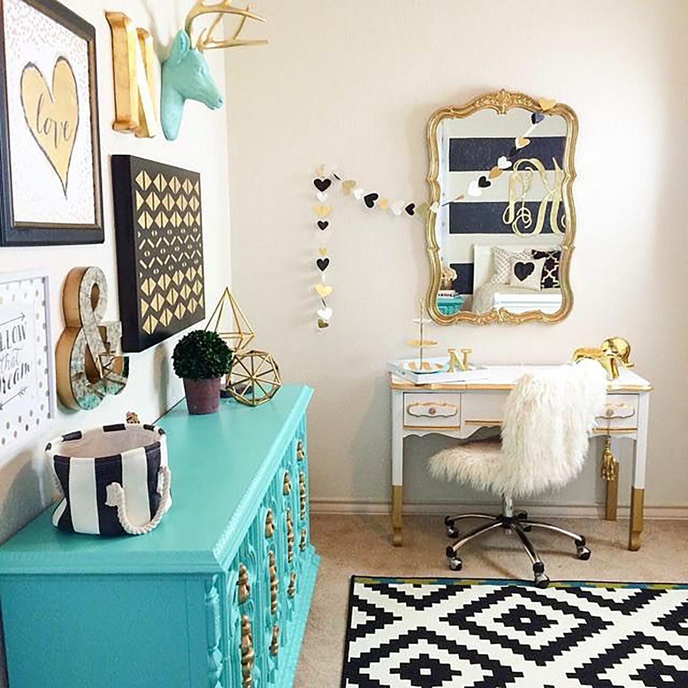 azul turquesa e dourado