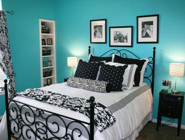quarto azul branco e preto