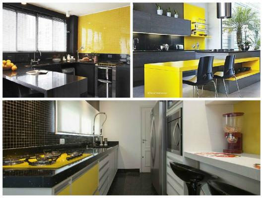 cozinha amarela branca e preta