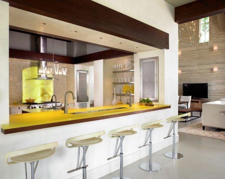 cozinha amarela e bege