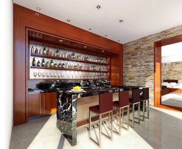 prateleiras compridas para um bar na parede