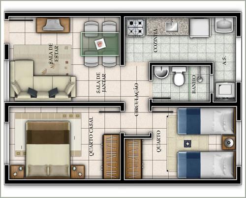 Plantas de casas pequenas 60 projetos e modelos gr tis for Casa moderna 2 andares 3 quartos