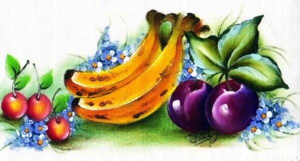 Pintura em tecido frutas