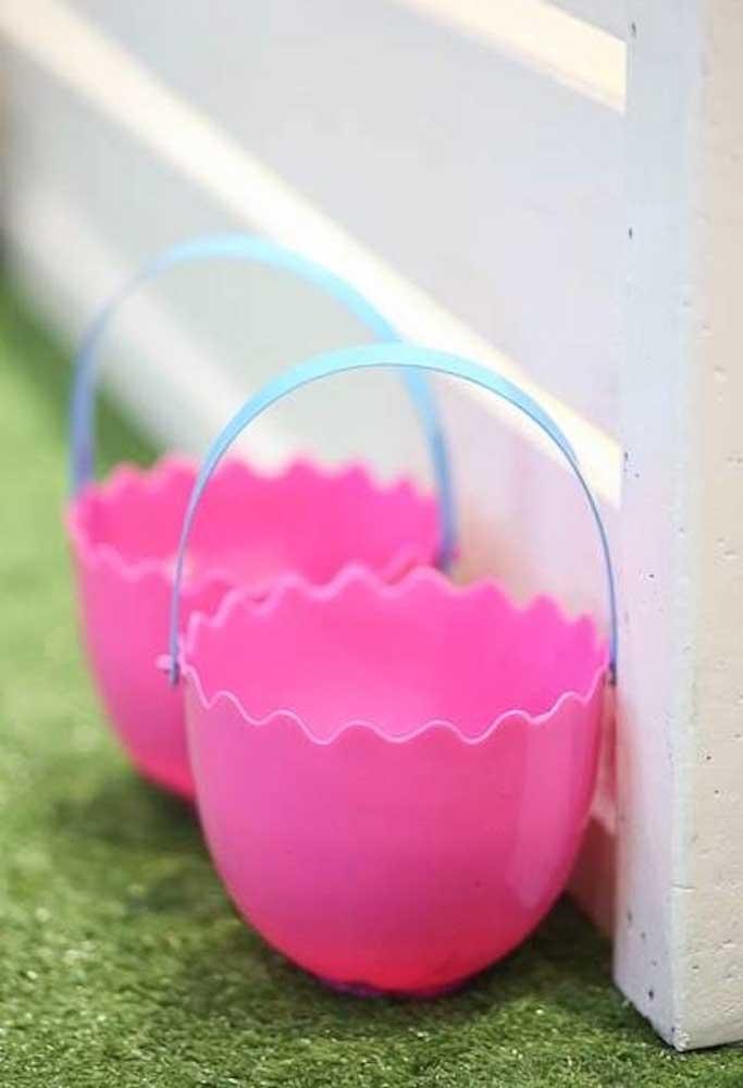 cestinhas rosinhas tematicas para a pascoa