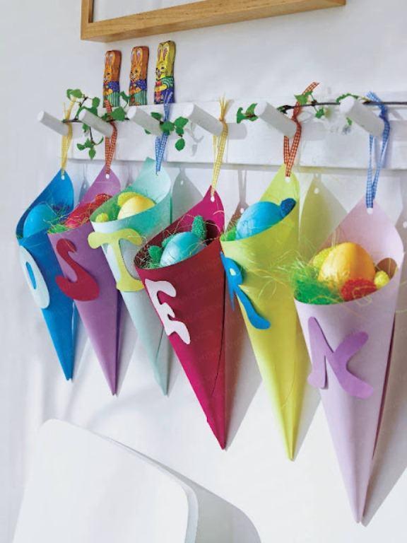 cones decorativos para colocar ovinhos de pascoa