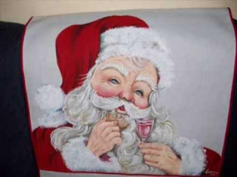 papai noel pintado em tecido
